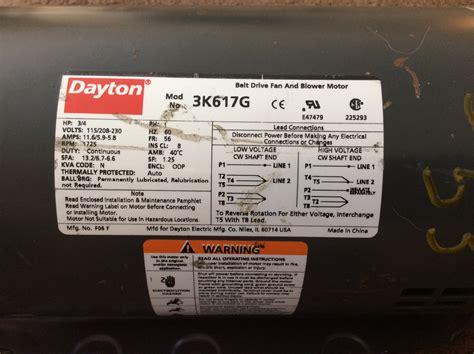 dayton 2 speed fan switch dayton electric motor model 5k960 a i need schematic of