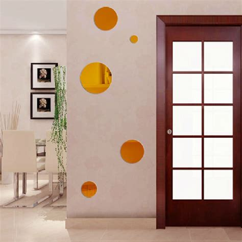 acrylic home decor 5pcs acrylic mirror crystal round circle 3d wall stickers