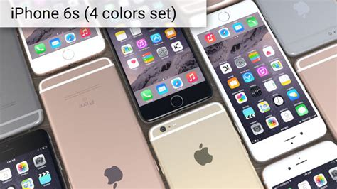 3d model apple iphone 6s set 4 colors cgtrader