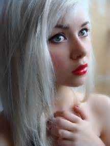 white hair girl with white hair red lips cherry ambition
