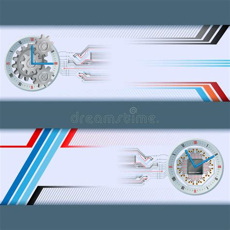 header graphic design definition set of banners with generic electronic and mechanic