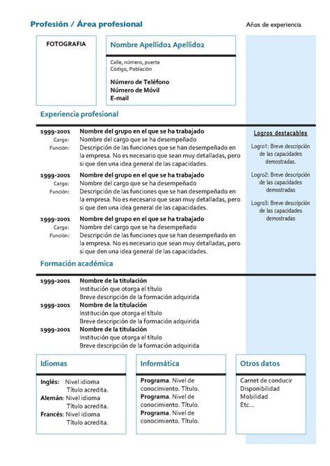 Modelo Curriculum Vitae Breve Met 225 Fora Instrucciones Para Elaborar Mi Cv Hoja De Vida