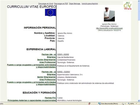 Modelo De Curriculum Europeo En Ingles Modelo De Curriculum Vitae Europeo Modelo De Curriculum Vitae
