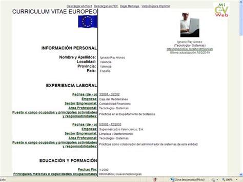Plantilla Curriculum Vitae Modelo Europeo Word Modelo De Curriculum Vitae Europeo Modelo De Curriculum Vitae