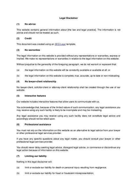 advice disclaimer template disclaimer template hashdoc