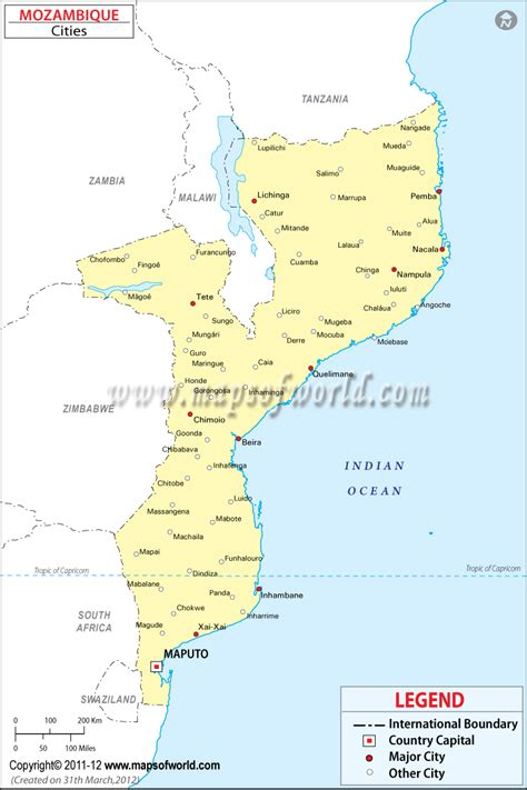 map of mozambique cities cities in mozambique map of mozambique cities