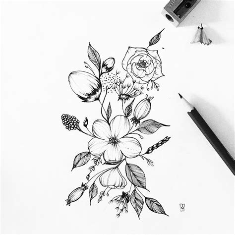 tattoo flower drawn flower drawing tattoo pinterest flower tattoo and