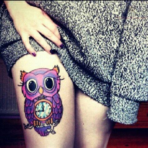 girl owl tattoo designs purple owl on thigh
