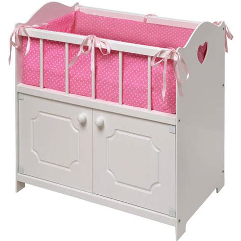 Baby Doll Cribs And Beds by Badger Basket White Storage Doll Crib With Bedding Fits