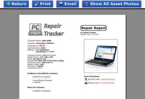 computer maintenance report template screenshots