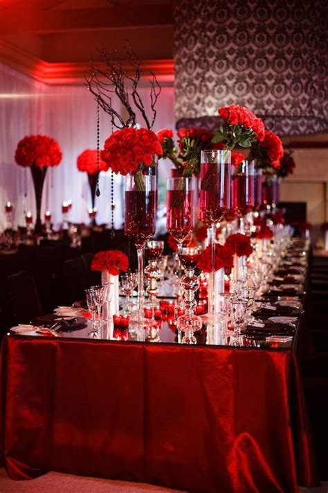 """Red White And Black Wedding Table Decorating Ideas"