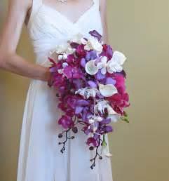 orchid bouquet cascading purple orchid calla bouquet for your