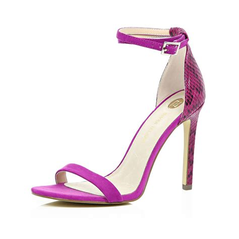 river island bright pink barely there sandal heels in pink