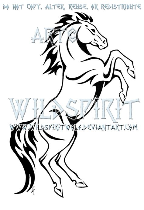 horse tattoo designs free rearing tribal design by wildspiritwolf on deviantart
