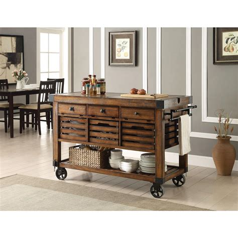 Kitchen Cart Home Outfitters Acme Furniture Kaif Distressed Chestnut Kitchen Cart With