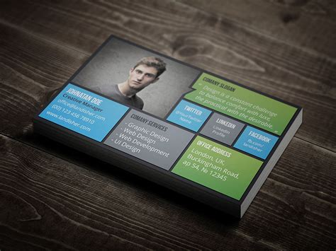 flat corporate personal business card landisher