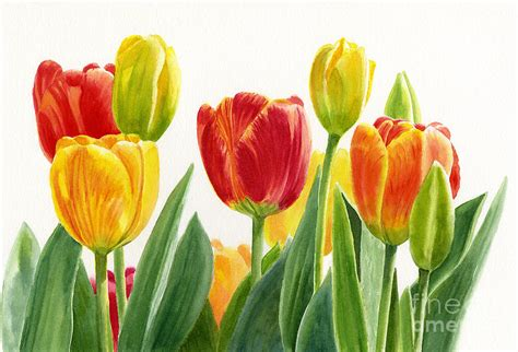 Home Design Blogs 2014 orange and yellow tulips horizontal design painting by