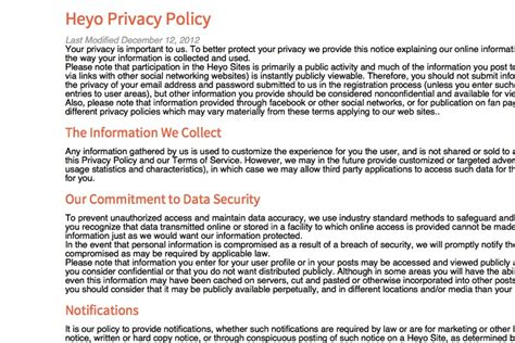 Privacy Policy Template Generator Free 2018 Privacy Policy Template