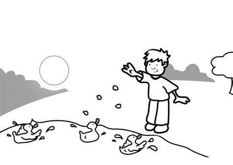 Feeding Ducks Coloring Page | coloring page feeding the ducks img 7306