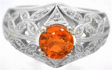 orange sapphire ring vintage inspired in 14k white gold