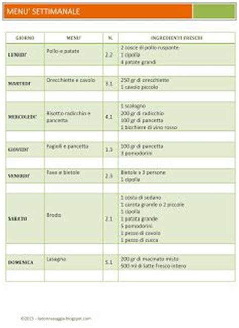 Spesa Settimanale Economica by Menu Settimanale Con Lista Della Spesa Ricette