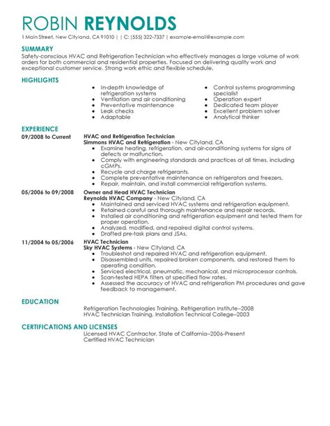 hvac technician resume best hvac and refrigeration resume exle livecareer