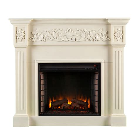 ivory calvert carved electric fireplace southern
