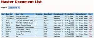 Document Control Master List Template Doc Con Document Control For Iso
