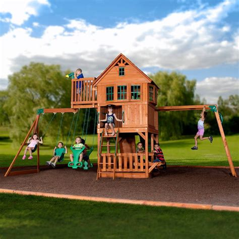 Skyfort Ii Wooden Swing Set And Outdoor Playset Backyard Backyard Wooden Swing Sets