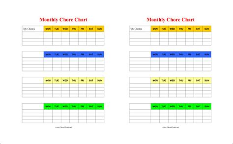 Chore Chart Template 6 Free Pdf Word Documents Download Free Premium Templates Monthly Chore Chart Template Excel