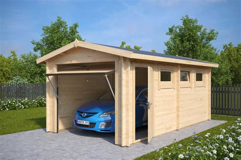 Wooden Garage by Wooden Garage A With Up And Door 44mm 3 X 5 5 M