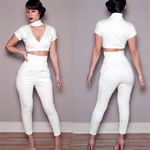 2014 new high waist trouser 2 pieces crop top and pants sexy white