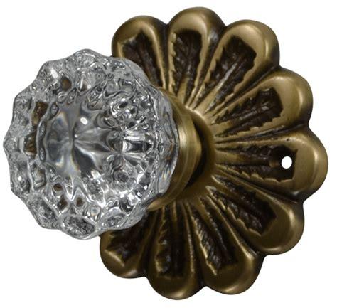 flower rosette regency fluted door knob set antique brass