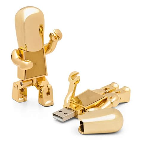 cool gadget gifts coolest latest gadgets golden robot usb drive packs a