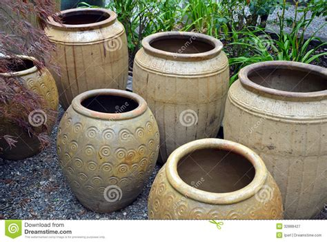 Outdoor Clay Pots by Clay Pots In Garden Shop Royalty Free Stock Photography