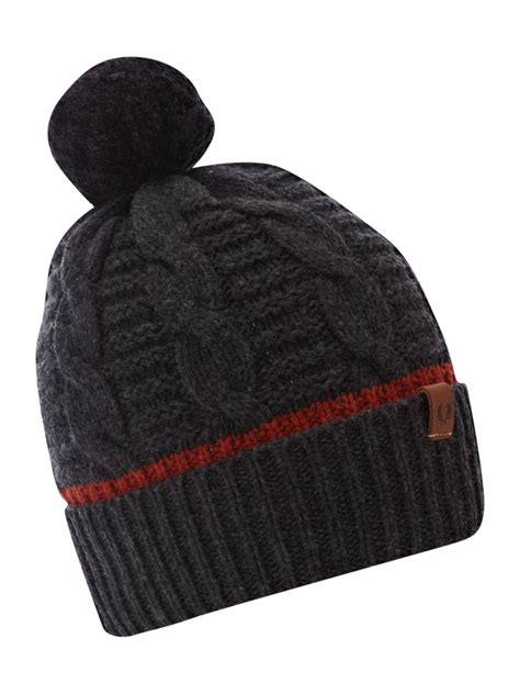 grey knit beanie fred perry chunky knit beanie hat in gray for grey