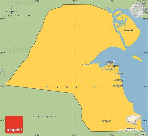 kuwait on a world map savanna style simple map of kuwait