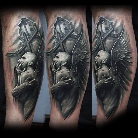 3d mystische engel statue tattoo am bein tattooimages biz