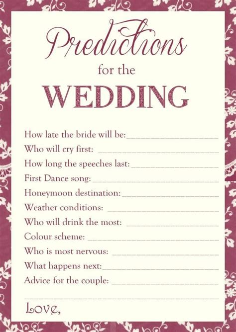 Wedding predictions great hen do game Www.facebook.com