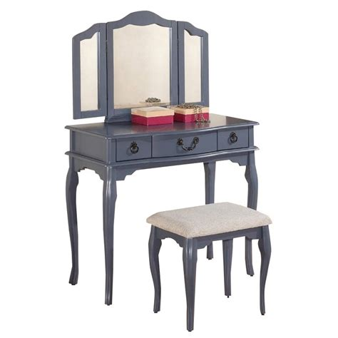 Grey Vanity Table Poundex Bobkona Susana Mirror Vanity Table With Stool Set In Gray F4091