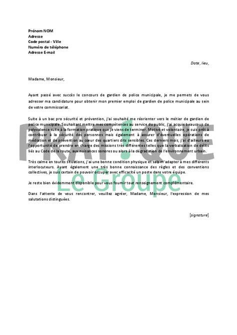 Lettre De Motivation Emploi Juriste Lettre De Motivation Pour Un Emploi De Gardien De Municipale D 233 Butant Pratique Fr