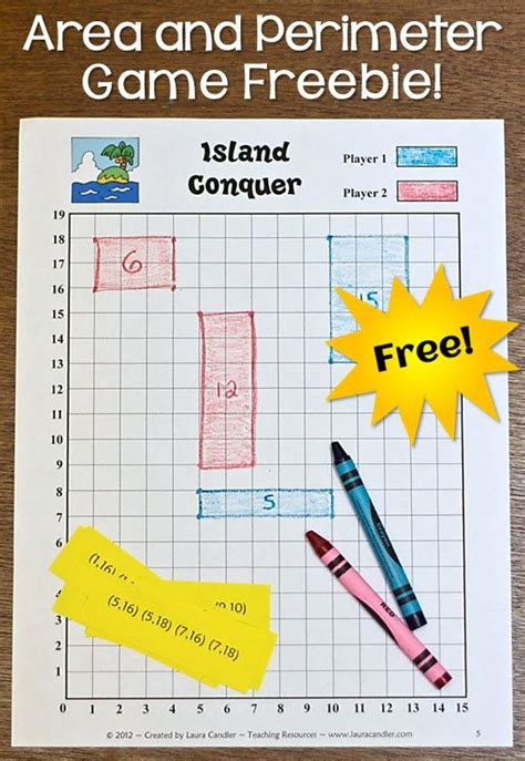 get printable area c free island conquer game for practicing area and perimeter