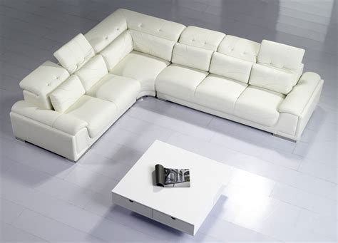 Camellia White Top Graded Real Leather Corner Sofa White Corner Sofa Leather