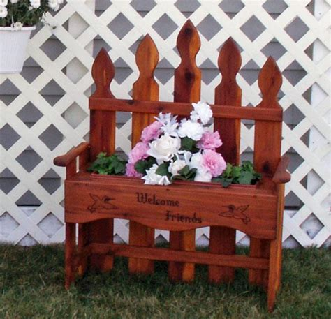 wooden bench with planters amish outdoor bench planter