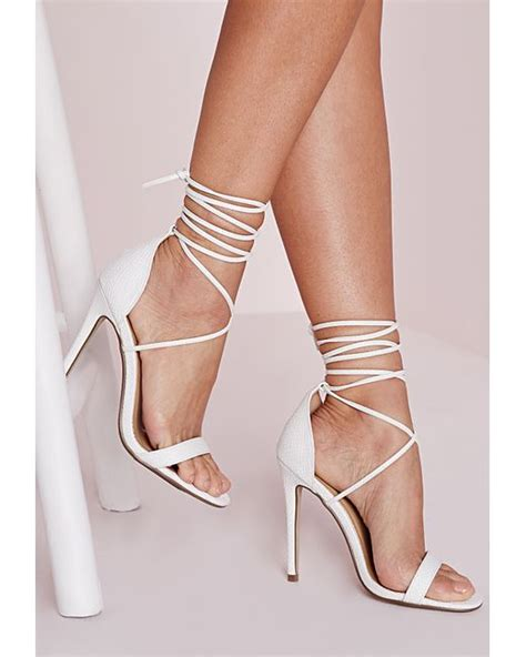 white lace up sandals missguided lace up barely there heeled sandals white croc