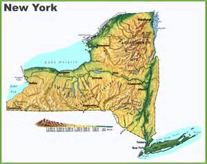 Physical Map Of New York new york physical map