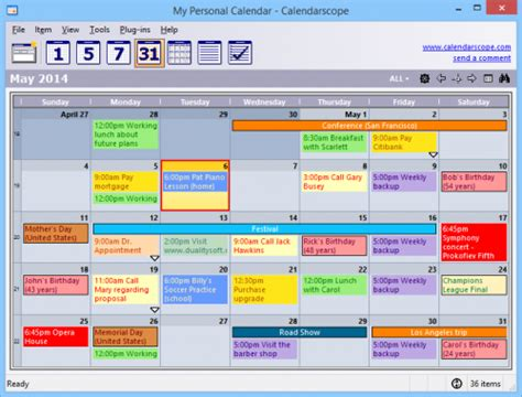 Año 0 Calendario Calendarscope โปรแกรม ปฏ ท นจ ดการตารางทำงาน ฟร 9 0