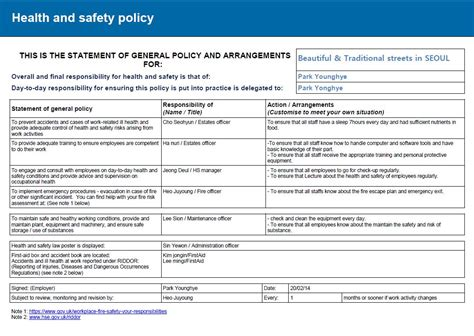 risk assessment report health and safety implications risk assessment report
