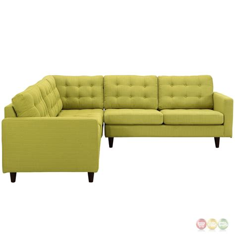 Tufted Sectional Sofa Empress 3 Button Tufted Upholstered Sectional Sofa Set Wheatgrass