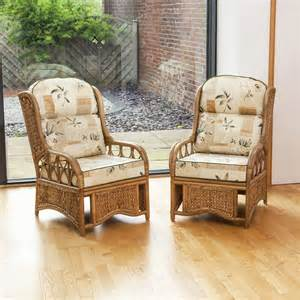 2 penang and woven sea grass conservatory armchairs